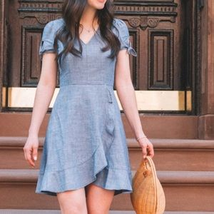 J Crew NWT 2018 chambray faux wrap dress 😍